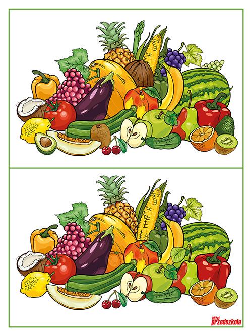 plakat warzywa i owoce znajdź r243żnice scenariusze